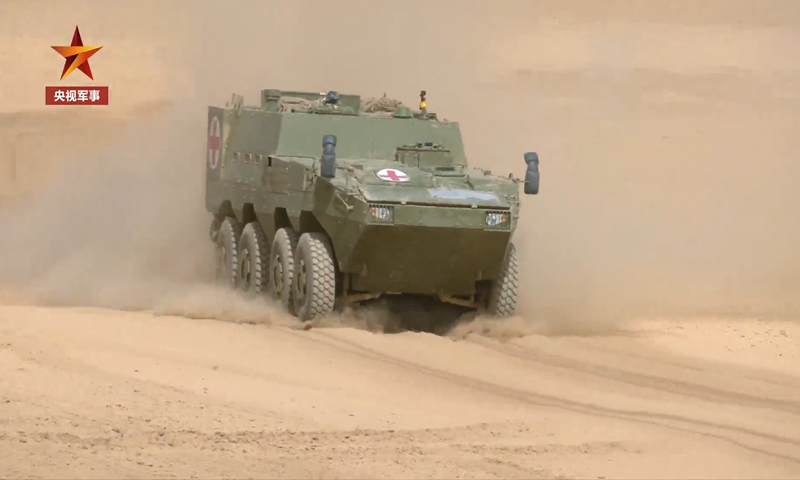 A new type of amphibious armored vehicle for rescue missions enters service with the Chinese People's Liberation Army forces stationed in plateau regions. Photo: Screenshot from China Central Television