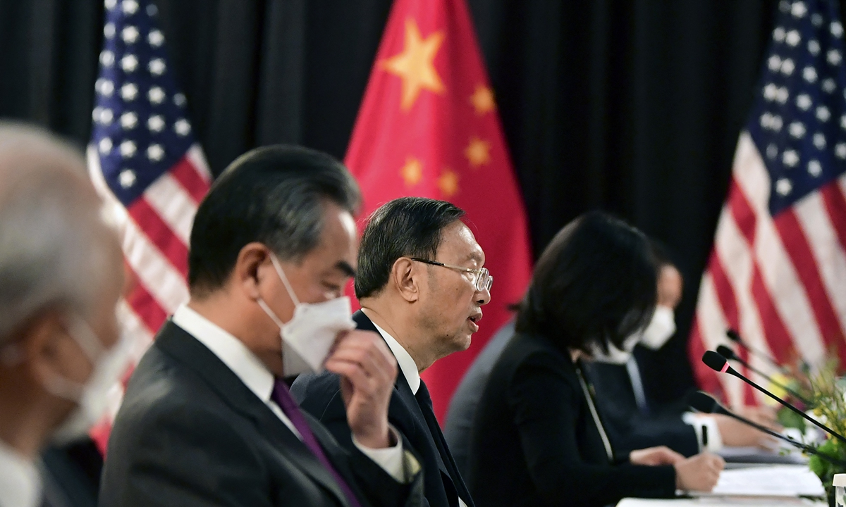 Yang Jiechi (center), a member of the Political Bureau of the Communist Party of China Central Committee and director of the Office of the Central Leading Group for Foreign Affairs, criticizes human rights issues in the US at the opening session of US-China talks in Anchorage, Alaska on March 18, 2021. Photo: AFP