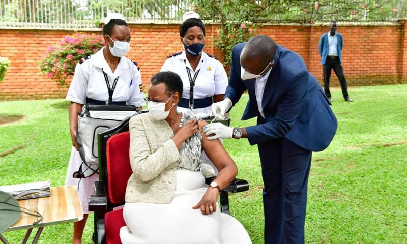 Uganda's First Lady Janet Museveni receives COVID-19 vaccination at State House in Nakasero, Kampala, Uganda, on March 27, 2021(Photo: Xinhua)