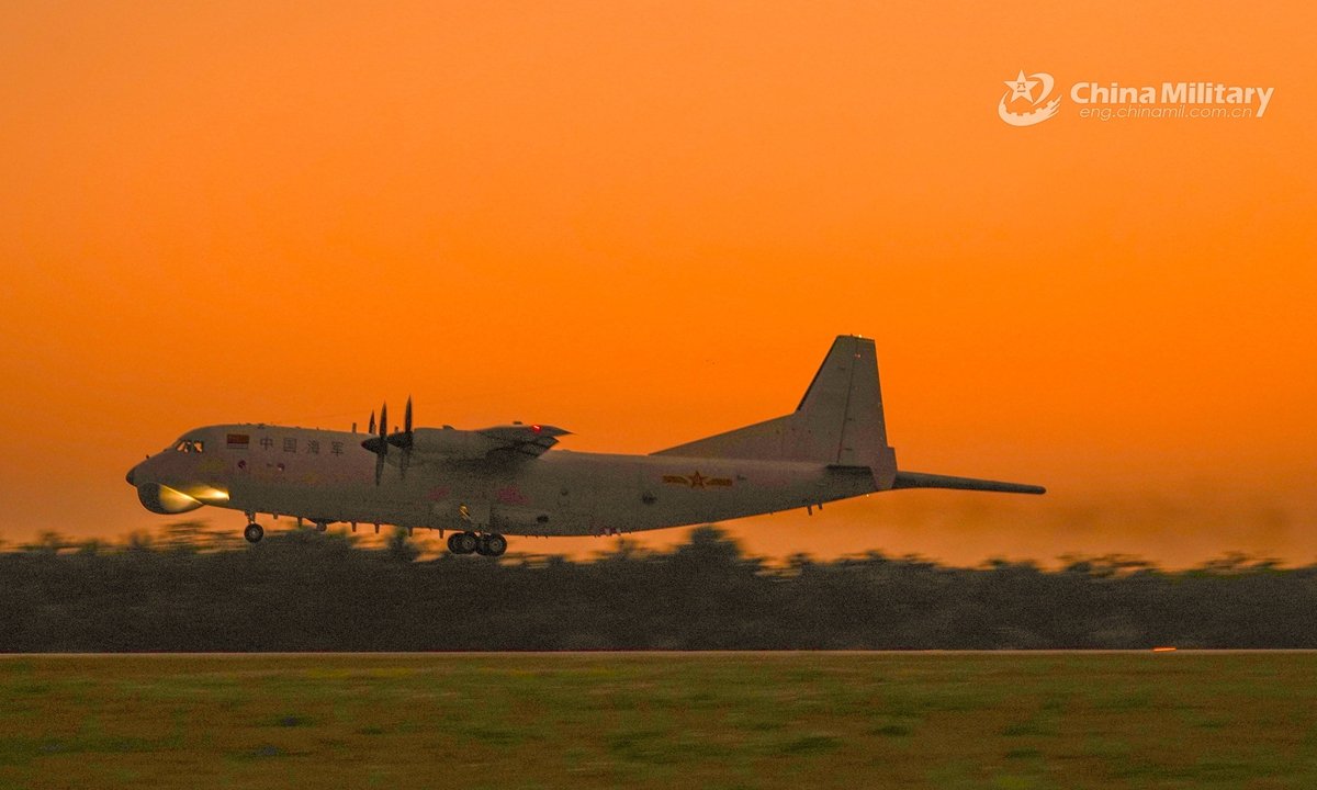 An anti-submarine patrol aircraft attached to an aviation regiment with the navy under the PLA Southern Theater Command takes off for a round-the-clock training exercise on March 10, 2021. The exercise involved multiple over-water flight training items including anti-submarine operations and low-altitude flight. Photo: China Military Online