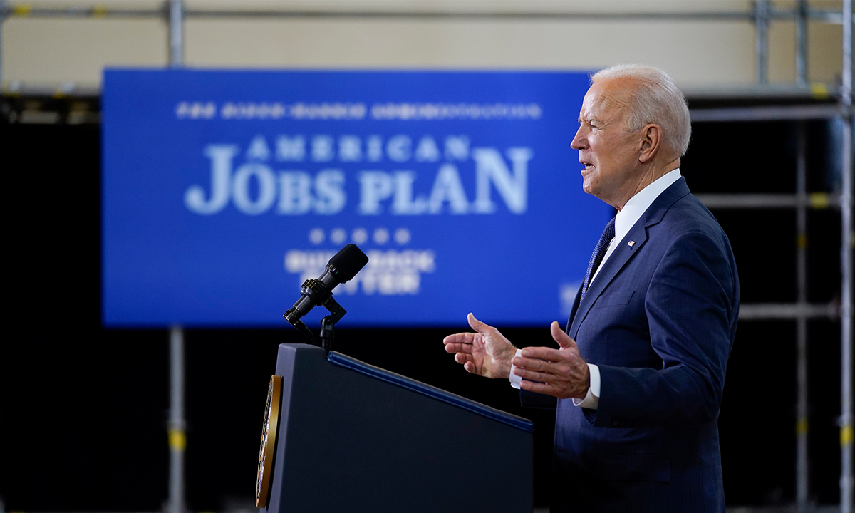 US President Joe Biden delivers a speech on a $2 trillion infrastructure spending at Carpenters Pittsburgh Training Center on Wednesday in Pittsburgh. Photo: VCG
