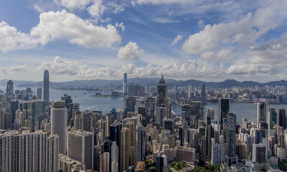 Aerial photo taken on July 16, 2020 shows the Wan Chai of south China's Hong Kong. (Xinhua/Lui Siu Wai)