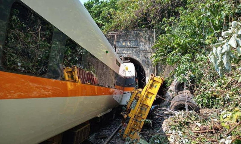 Photo taken on April 2, 2021 shows the site of a train derailment in Hualien, China's Taiwan. Photo: Xinhua