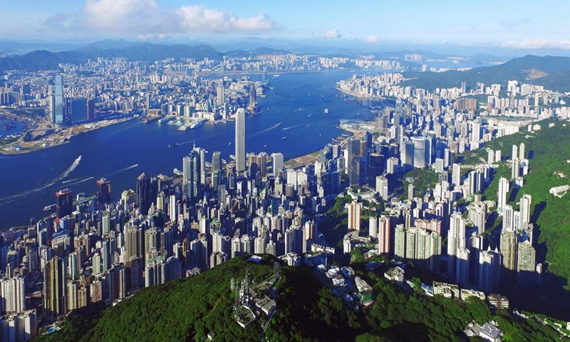 Aerial photo taken on June 27, 2017 shows the scenery on the both sides of the Victoria Harbor in Hong Kong, south China.(Photo: Xinhua)
