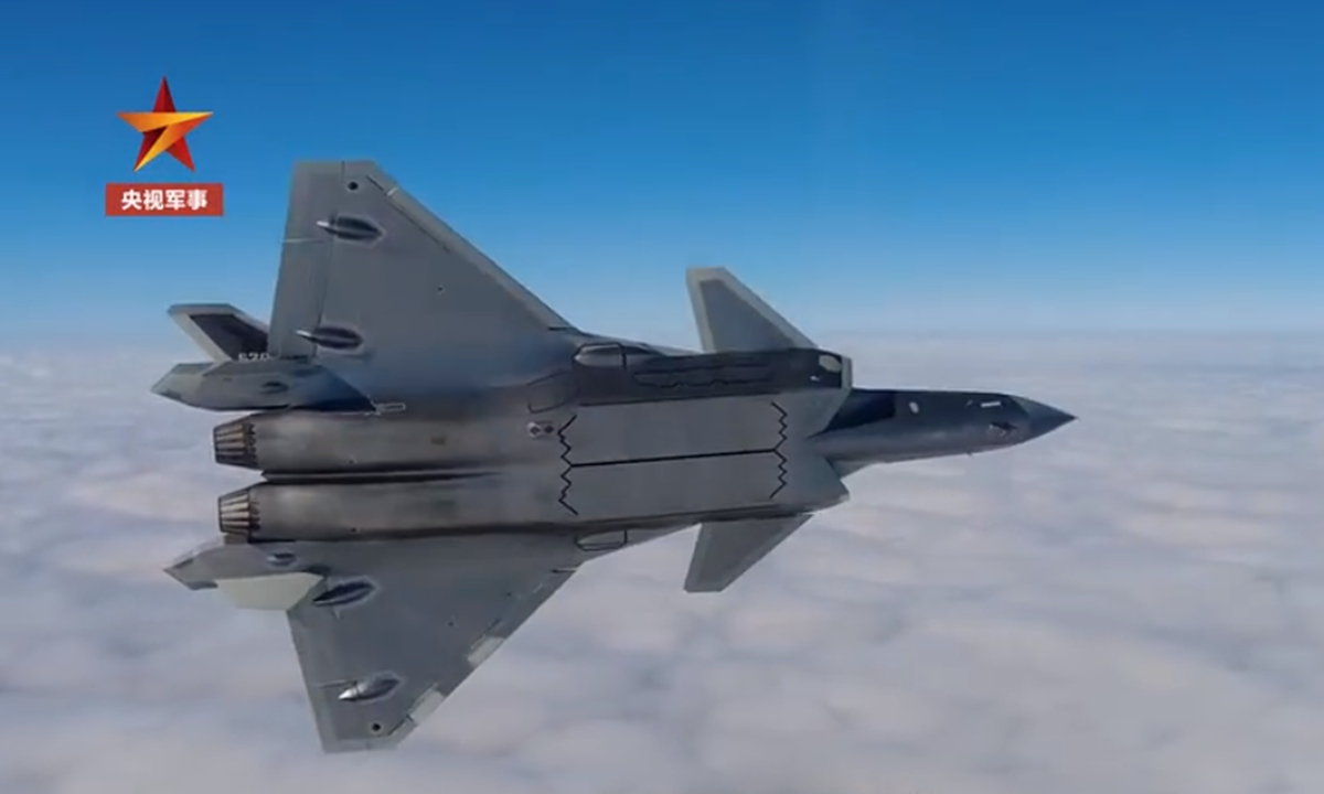 A J-20 stealth fighter jet attached to the Chinese People's Liberation Army Eastern Theater Command takes part in exercises. The aircraft is not equipped with a Luneburg lens, a radar reflector used to make a stealth aircraft visible to others in training or non-combat flights. Photo: Screenshot from China Central Television