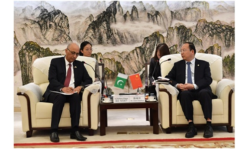 China Gezhouba Group Corp Chairman Chen Xiaohua (right) meets with Pakistani Ambassador to China Moin ul Haque in Wuhan, Central China's Hubei Province on Tuesday. Photo: Courtesy of Pakistan Embassy in Beijing