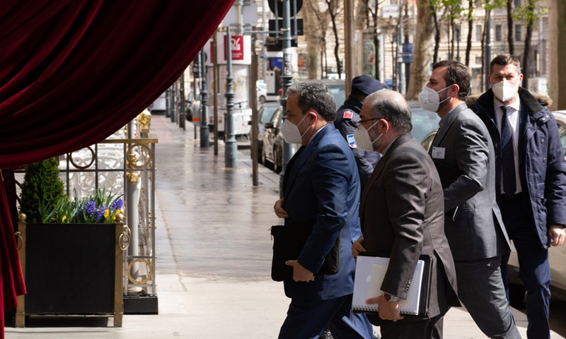 Iranian Deputy Foreign Minister Abbas Araqchi arrives at the venue of Iran nuclear deal talks in Vienna, Austria, April 6, 2021. (Photo: Xinhua)