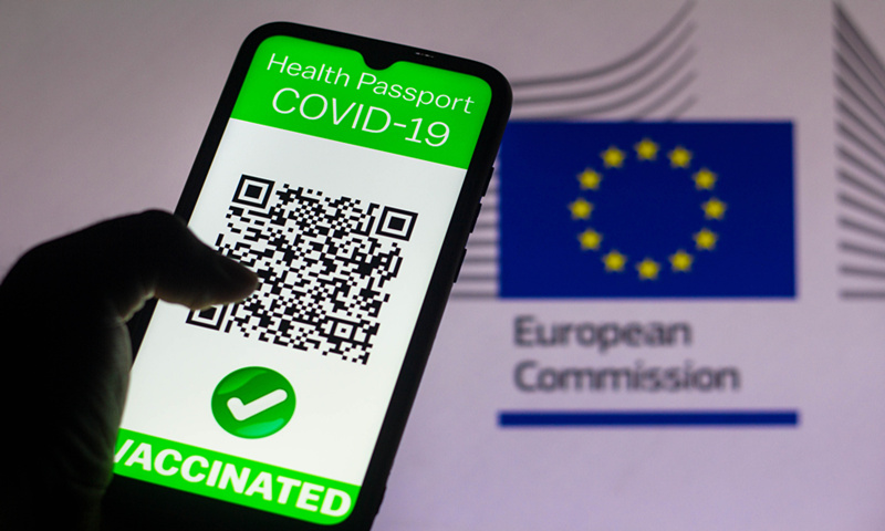 A symbolic COVID-19 health passport is seen on a smartphone screen in Brazil on Monday. Illustration: VCG