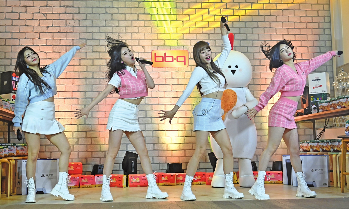 K-pop group Brave Girls perform during a rehearsal for a YouTube-livestream commercial event at a studio in Gwacheon, south of Seoul, South Korea, on March 27. Photo: AFP