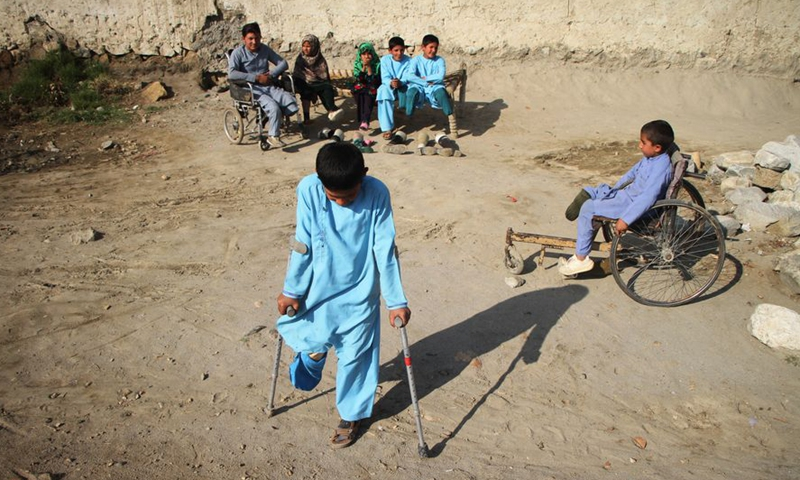 Photo taken on Feb. 22, 2020 shows disabled children in Surkh Rod district of Nangarhar province, eastern Afghanistan. The UN Assistance Mission in Afghanistan (UNAMA) has documented more than 10,000 civilian casualties in 2019, of these more than 3,400 had been killed, said a report of the body released. (Photo by Saifurahman Safi/Xinhua)