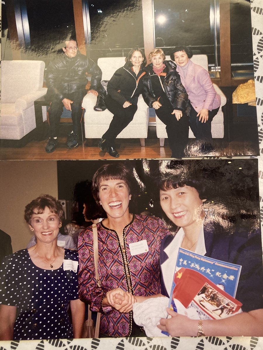 Photos of Zheng Minzhi (far right) and Connie Sweeris (first left in the second pic) who met at two different anniversaries of ping-pong diplomacy Photo: Courtesy of Zheng