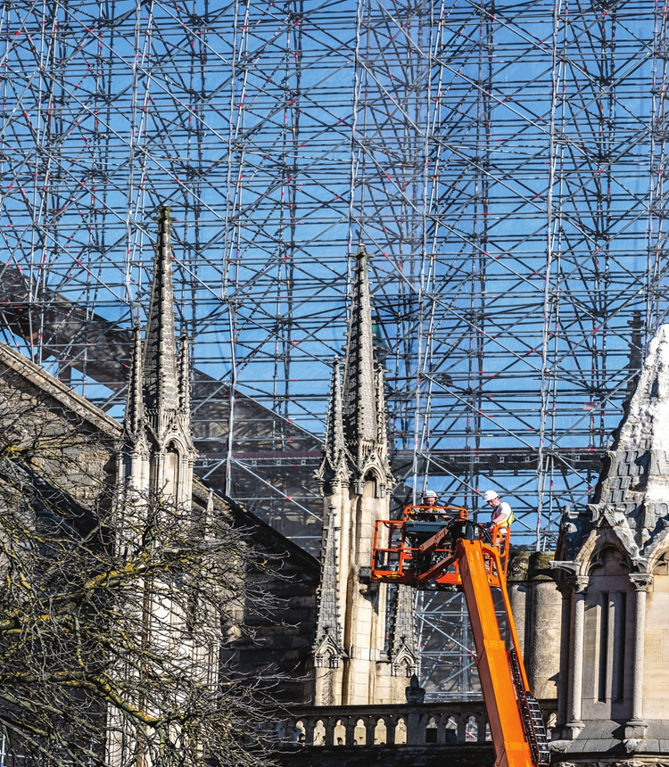 A general view of the works site of Notre-Dame Cathedral in Paris, France, on March 1 Photo: VCG