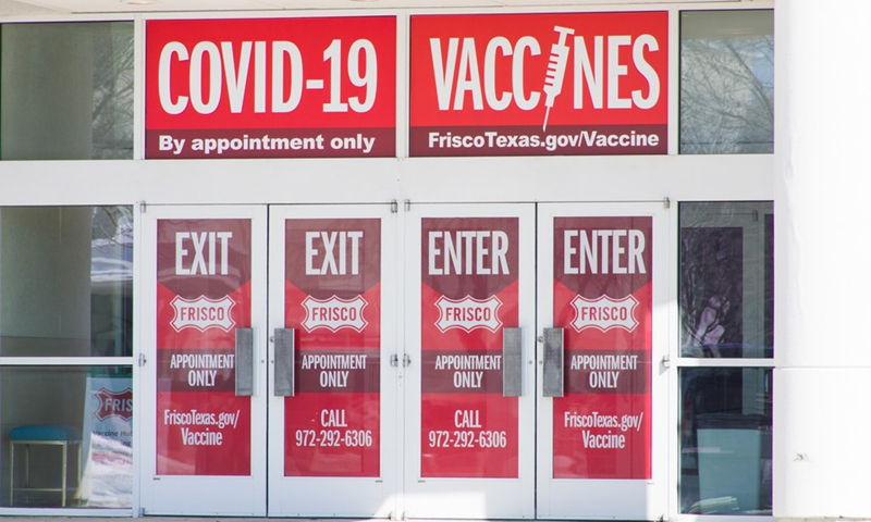 Photo taken on Feb. 19, 2021 shows a COVID-19 vaccine center in Frisco, Texas, the United States.(Photo: Xinhua)