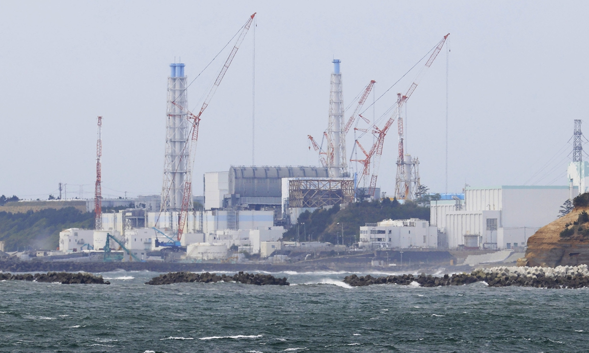 Photo taken from Namie in Fukushima Prefecture, northeastern Japan, on Tuesday shows the crippled Fukushima Daiichi nuclear power plant. Tokyo decided the same day to release radioactive water into the sea. Photo: VCG