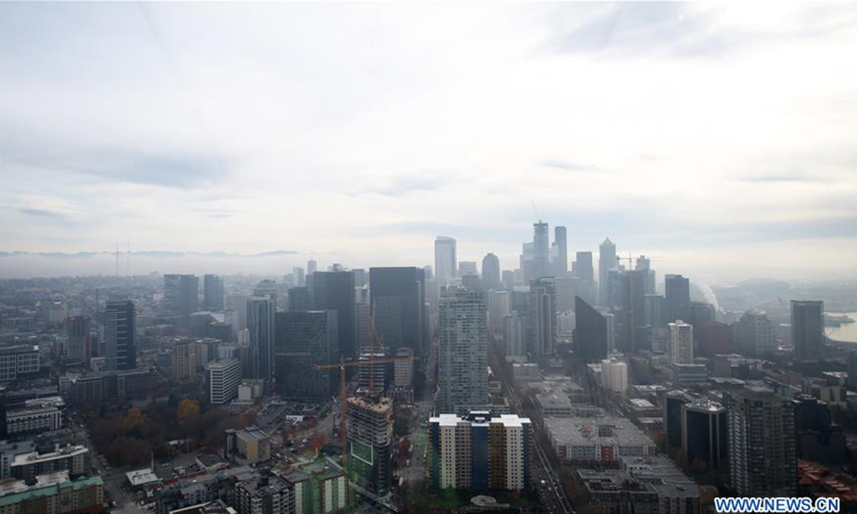 Photo taken on Nov. 14, 2019 from the Space Needle shows the downtown Seattle, Washington, the United States. Seattle is a seaport city on the west coast of the United States. The city is known for art and music, and is home to a number of technology companies. Photo: Xinhua