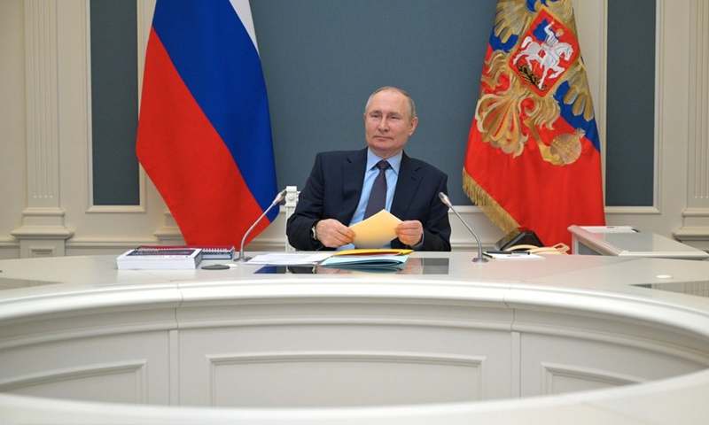 Russian President Vladimir Putin attends a meeting of the Board of Trustees of the Russian Geographical Society via video link on April 14, 2021.(Photo: Xinhua)