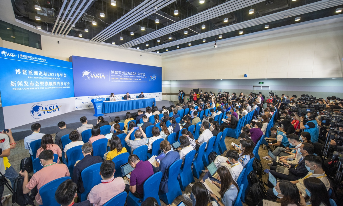 The opening press conference of the 2021 BoaoForum for Asia (BFA) held in Boao, Hainan Province, China on Sunday. This year's forum has so far attracted 1,200 journalists from 128 countries and regions around the world. Photo: VCG
