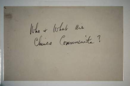 """Smedley's handwriting: """"Who & What are Chinese Communists?"""""""