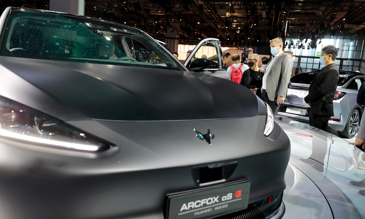 Huawei unveils ARCFOX Alpha S in cooperation with BAIC Motor Corp at Shanghai auto show. Photo: Yanghui/GT