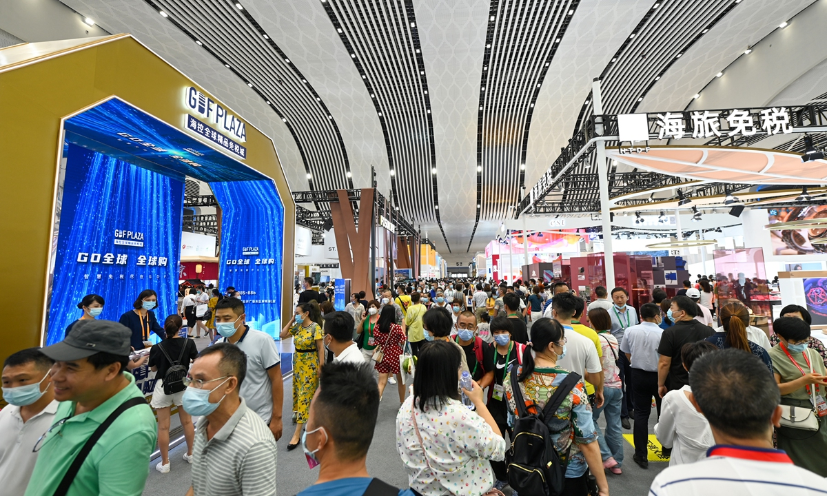 Visitors tour around the first China International Consumer Products Expo (CICPE) in Haikou, capital of South China's Hainan Province over the weekend. Photo: VCG