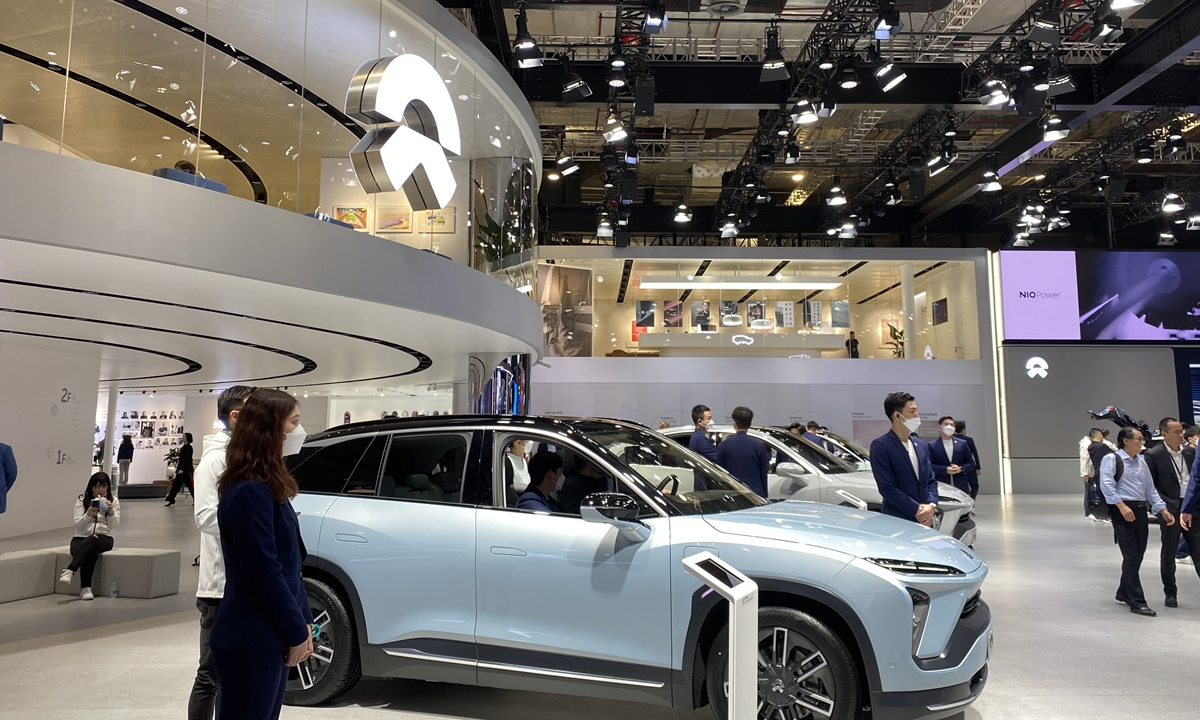 The Nio booth at the 19th International Automobile Industry Exhibition (Auto Shanghai 2021) on Tuesday Photo: Xie Jun/GT