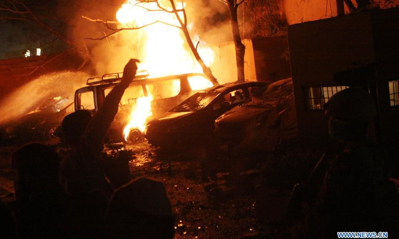 Fire breaks out at the blast site in Quetta, Pakistan's southwest Balochistan province, on April 21, 2021. Three people were killed and 11 others injured when a bomb went off inside the parking area of Serena hotel in Balochistan province Wednesday night, hospital sources said.(Photo: Xinhua)