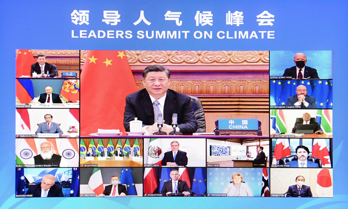 The Leaders' Summit on Climate is convened on Thursday. Photo: Xinhua