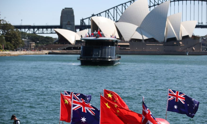 Photo taken on Sep 8, 2019 shows the Chinese and Australian national flags on a celebration event in Sydney, Australia.Photo:Xinhua