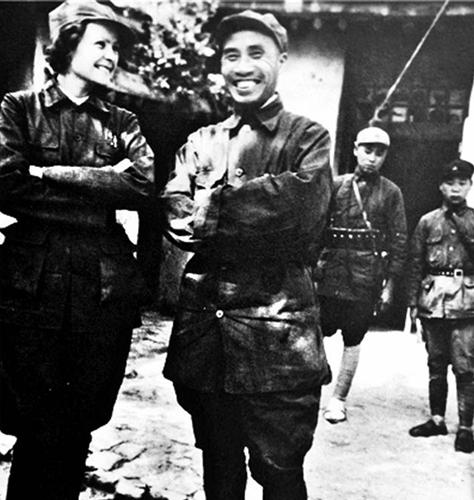 Helen Foster and Zhu De in Yan'an