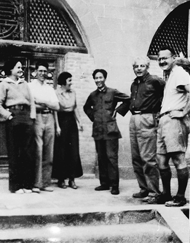 Mao Zedong (third from right) with Helen Foster (first from left) and other foreign friends in Yan'an, 1937
