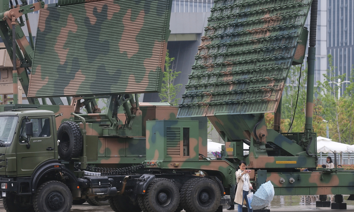 Radar systems on display at the 9th World Radar Expo in Nanjing, East China's Jiangsu Province on April 22, 2021.
