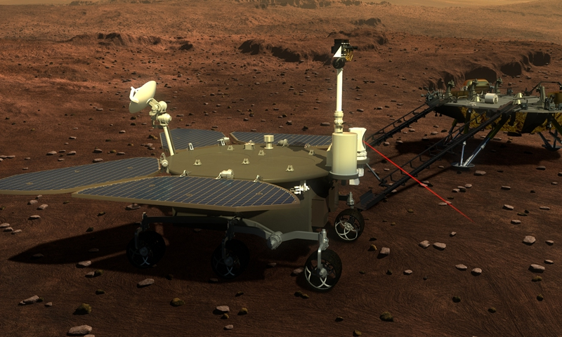 Picture released on Aug. 23, 2016 shows the concept portraying what the Mars rover and lander would look like.Photo:Xinhua