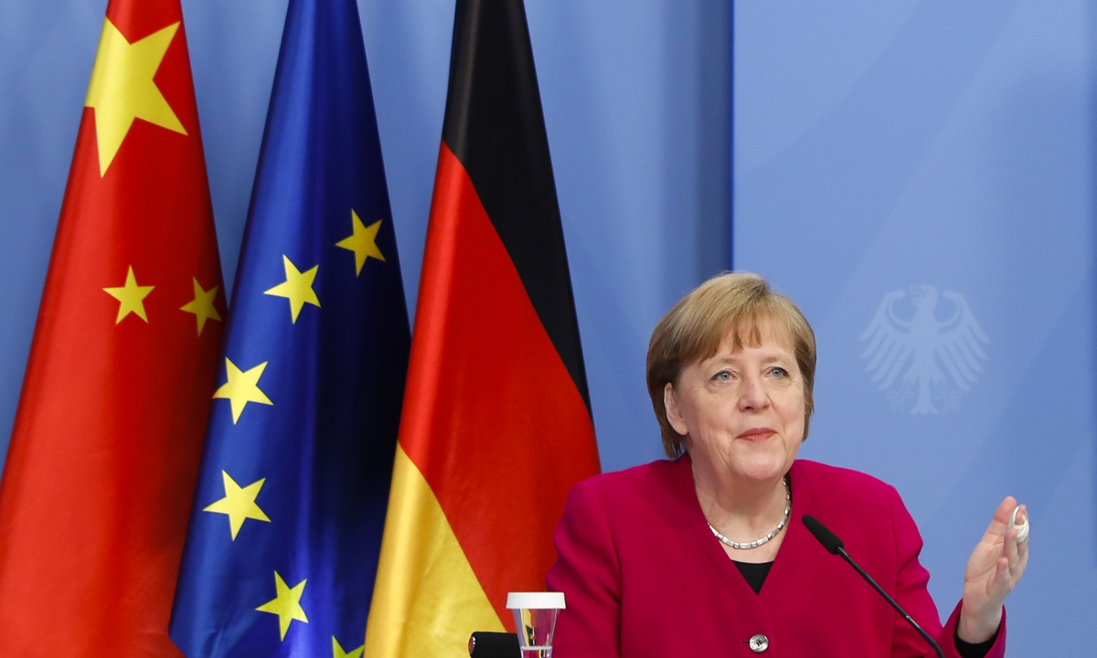 German Chancellor Angela Merkel attends virtual talks as part of the Sixth German-Chinese Government Consultations on April 28, 2021 in Berlin, Germany. Chinese Premier Li Keqiang and German Chancellor Angela Merkel co-chaired the sixth round of intergovernmental consultations via video link on Wednesday. Photo: VCG