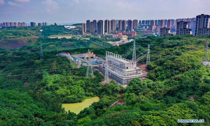 Aerial photo taken on April 27, 2021 shows the view of the 500-KV Jinshan electricity substation in southwest China's Chongqing. The 500-KV Jinshan electricity substation was officially put into operation on Friday, which is expected to greatly improve the power supply in the northern area of Chongqing.Photo:Xinhua