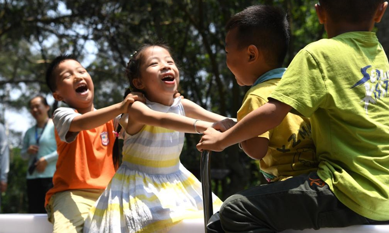 Children play in an adventure playground at a tourist attraction in Nanning, south China's Guangxi Zhuang Autonomous Region, May 1, 2021. Saturday marks the first day of China's five-day May Day holiday. Photo: Xinhua
