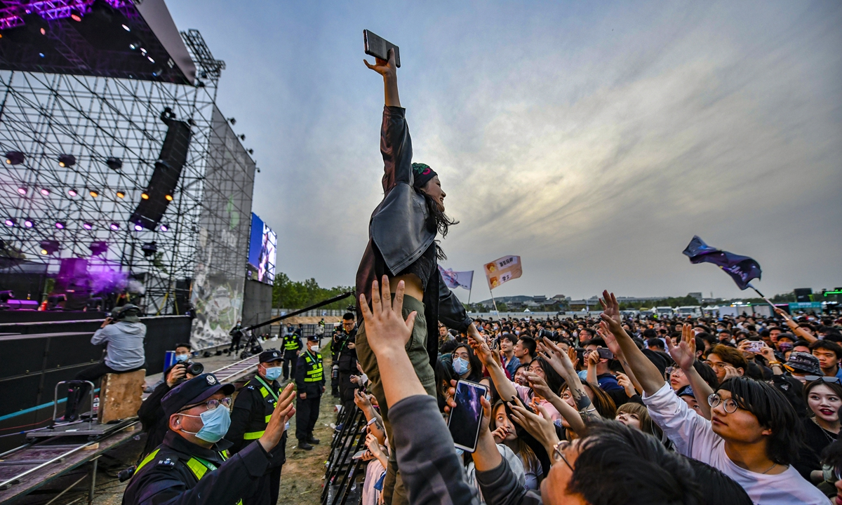 Music fans enjoy Midi Festival in Jinan, capital of East China's Shandong Province on May 2. Photo: IC