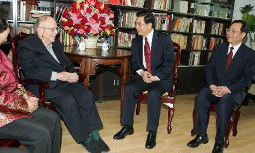 Hu Jintao celebrating Epstein's 90th birthday in 2005