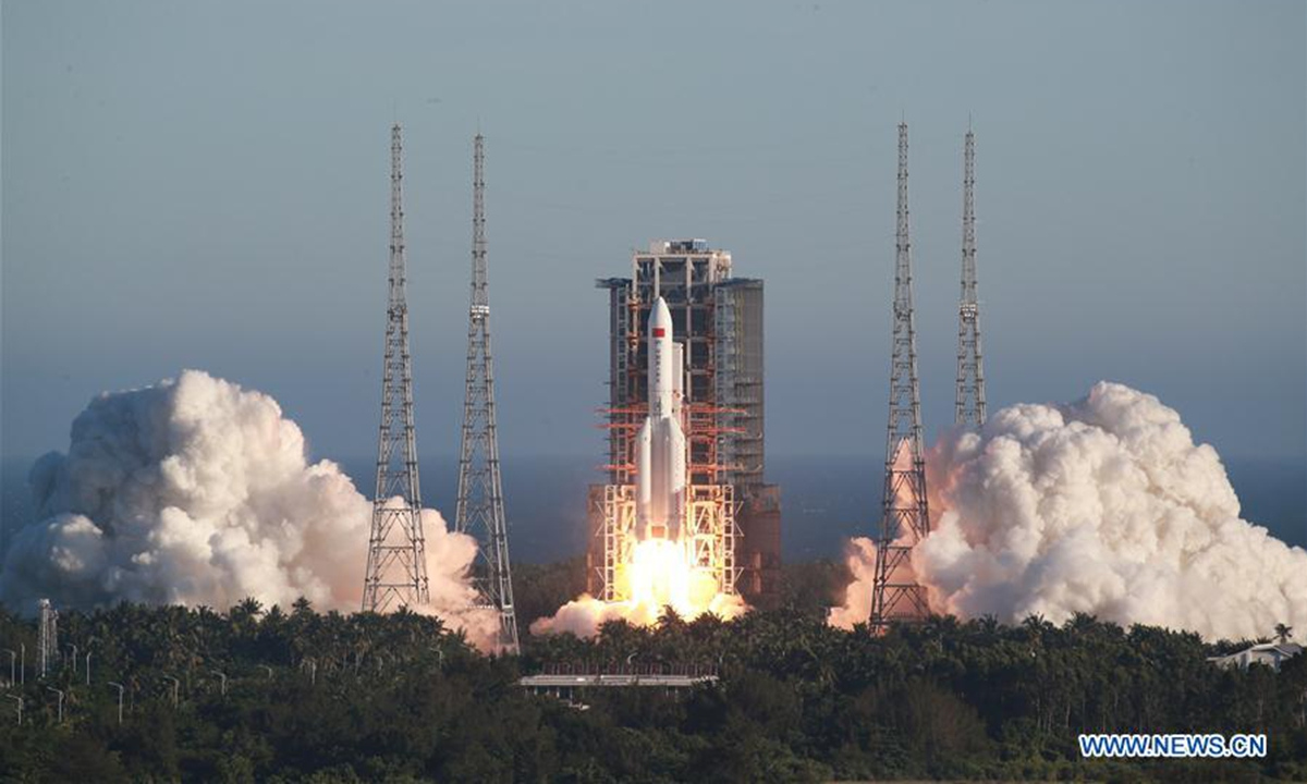 China's new large carrier rocket Long March-5B blasts off from Wenchang Space Launch Center in south China's Hainan Province, May 5, 2020. China's new large carrier rocket Long March-5B made its maiden flight Tuesday, sending the trial version of China's new-generation manned spaceship and a cargo return capsule for test into space. (Photo by Tu Haichao/Xinhua)