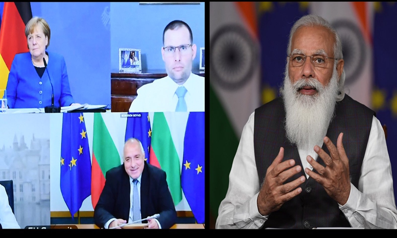 Indian Prime Minister Narendra Modi and the heads of state or government of member states of the EU meet on a virtual summit on Saturday. Photo: @MEAIndia