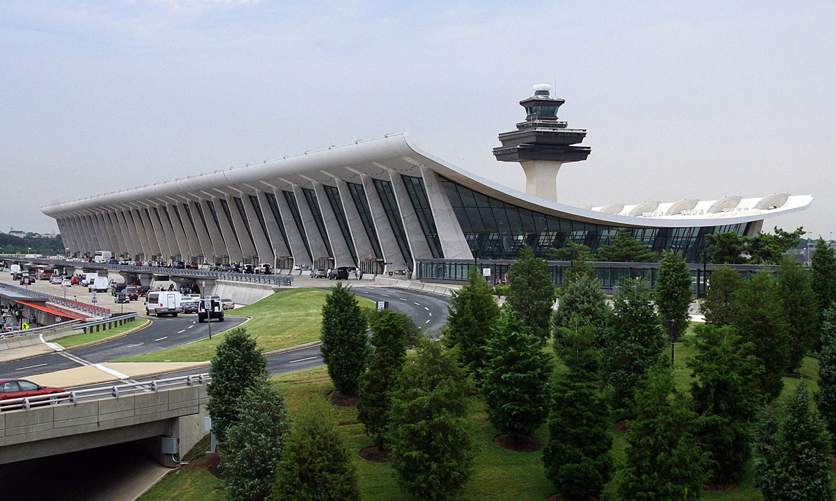 In this file photo taken on June 15, 2008, the main terminal at Washington Dulles International Airport in Dulles, Virginia. Colonial Pipeline, which suppliesDulles with jet fuel, said in a statement that on May 7, 2021, it was the victim of a cybersecurity attack and that in response it took its systems offline. Photo: VCG