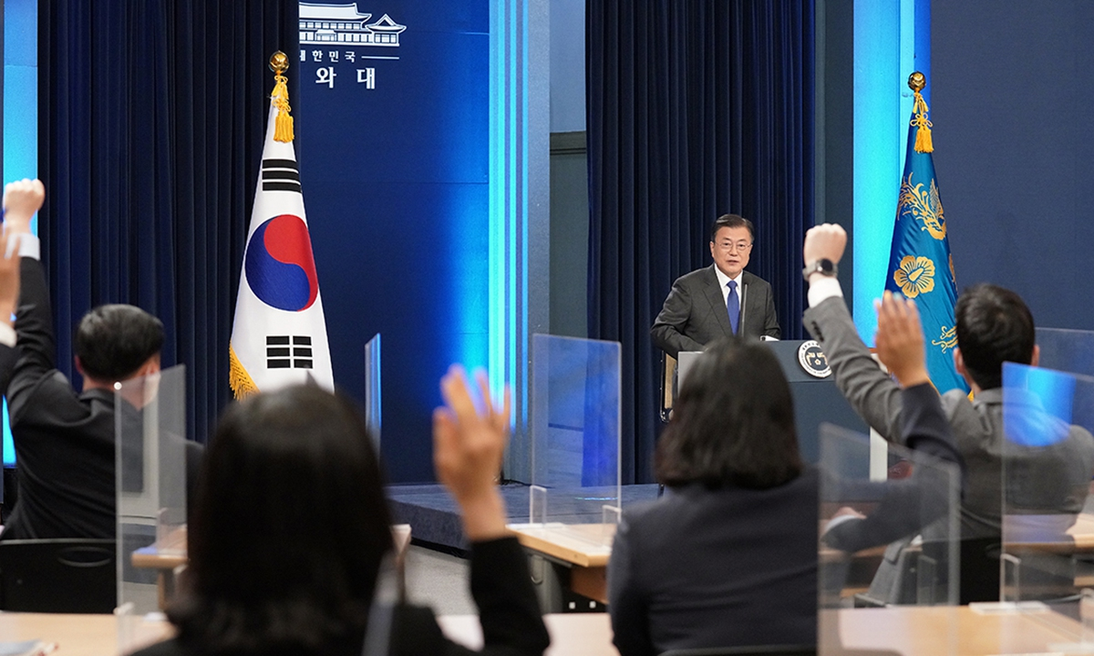 South Korean President Moon Jae-in delivers a special address to mark the fourth anniversary of his inauguration at the presidential Blue House on Monday, in Seoul, South Korea. Moon said the government will focus all-out efforts on South Korea's economy achieving at least 4 percent growth in 2021. He also declared a push to create herd immunity here against COVID-19 earlier than scheduled. Photo: VCG