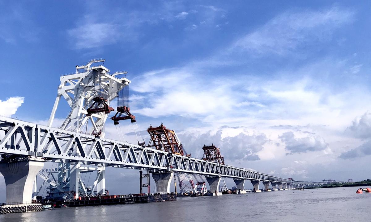 The Chinese-built Padma Bridge Project is Bangladesh's largest bridge project. Photo: Xinhua