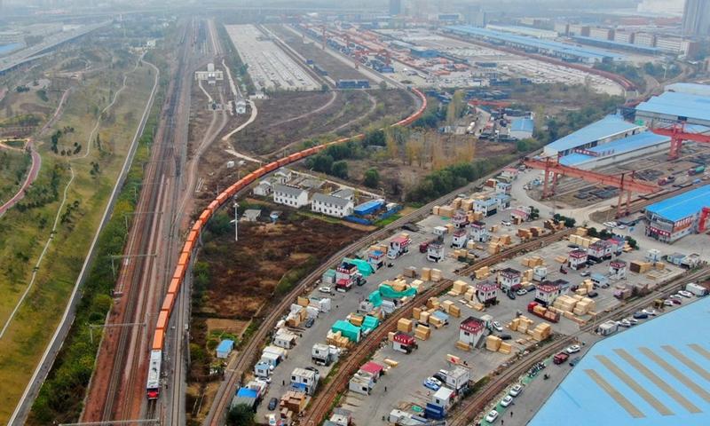 Aerial photo shows a China-Europe freight train. Photo: Xinhua