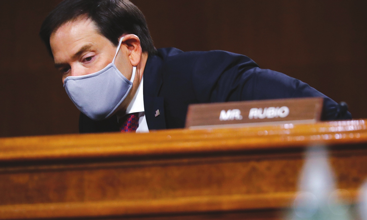 Marco Rubio arrives for a Senate Intelligence Committee nomination hearing. Photo: AFP