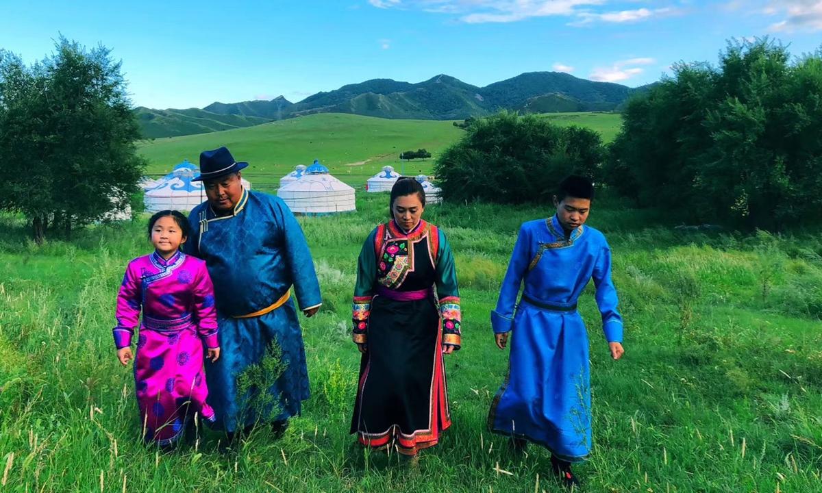 Honggelbatel's family ramble on the grassland.  Photo: Courtesy of Honggelbatel