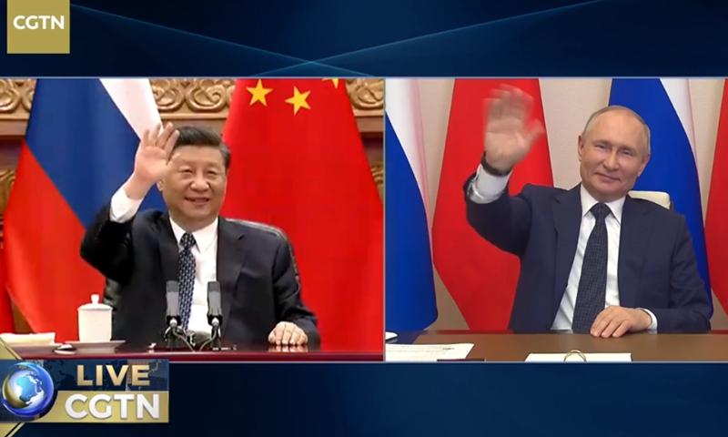 Chinese President Xi Jinping and Russian President Vladimir Putin Photo: CGTN