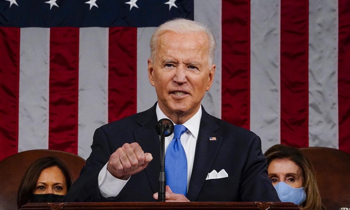 US President Joe Biden addresses a joint session of Congress in Washington, D.C. on April 28. Photo: Xinhua