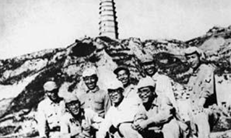 Group photo of trainees from Yan'an Japanese Worker and Peasant School at the foot of Baota Mountain