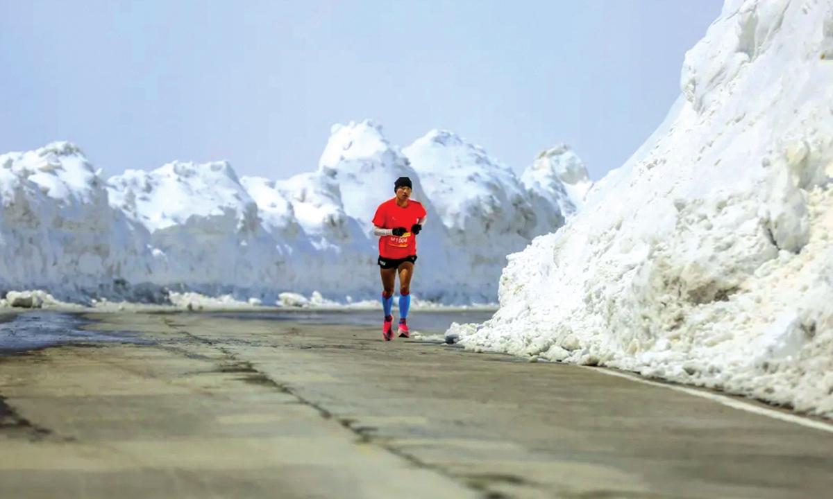 A runner participates in the mountain marathon race in Changbai Mountain, Northeast China's Jilin Province. Photo: IC