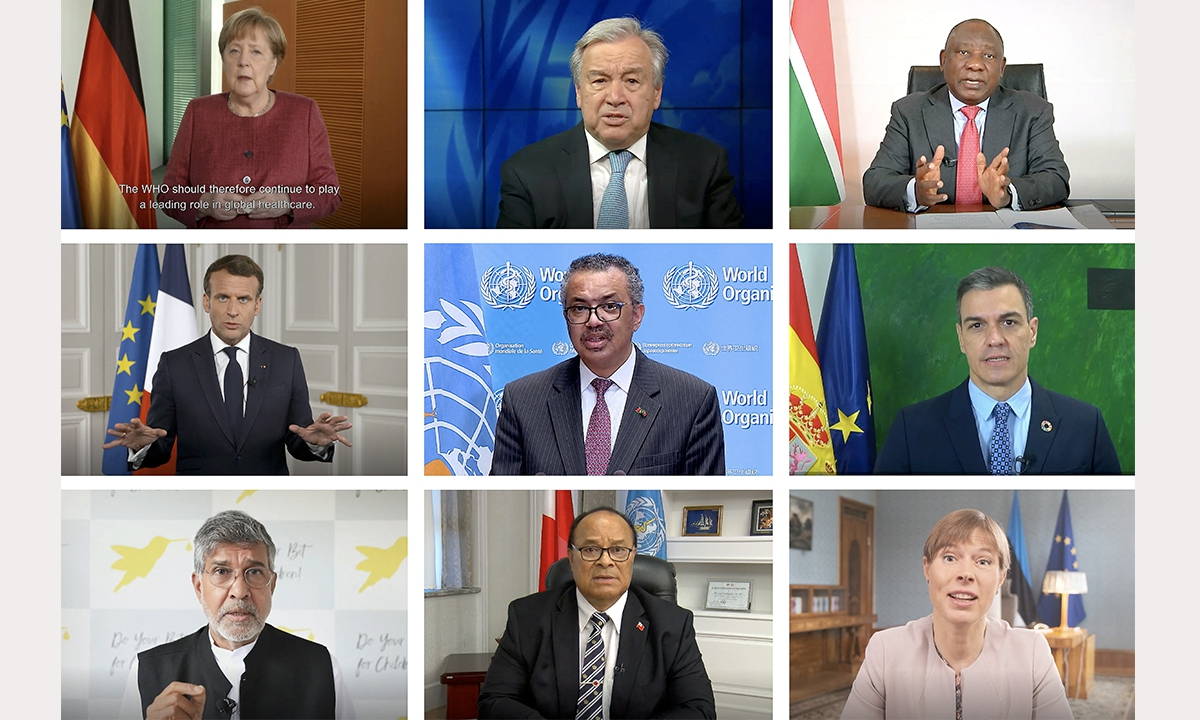 A combination of nine screenshots taken from a handout video made available by the WHO shows several world leaders, as well as UN Secretary-General Antonio Guterres (center in 1st row) and WHO's Director-General Tedros Adhanom Ghebreyesus (center in 2nd row) addressing remotely at the opening day of the World Health Assembly on Monday in Geneva. Photo: AFP